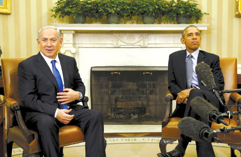 US PRESIDENT Barack Obama meets Prime Minister Benjamin Netanyahu in the Oval Office of the White House in November 2015. (photo credit: KEVIN LAMARQUE/REUTERS)