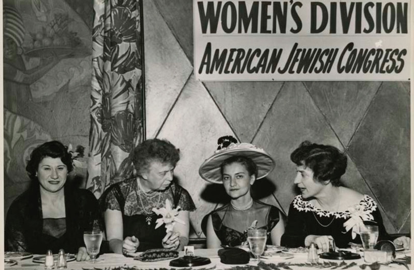 ELEANOR ROOSEVELT (second from left) converses with members of the American Jewish Congress's women's division at its annual Hanukka luncheon in 1955. (photo credit: AMERICAN JEWISH HISTORICAL SOCIETY)