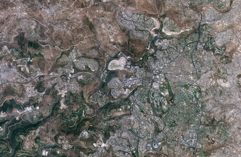 Jerusalem as seen by the Venus satellite (photo credit: SCIENCE, TECHNOLOGY AND SPACE MINISTRY)