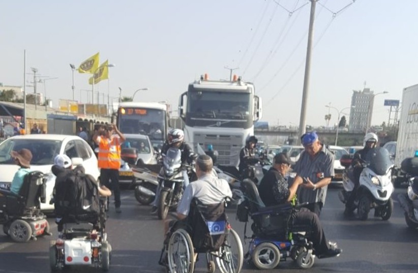 Handicapped protest on Highway 4. (photo credit: DISABLED IS NOT A HALF PERSON)