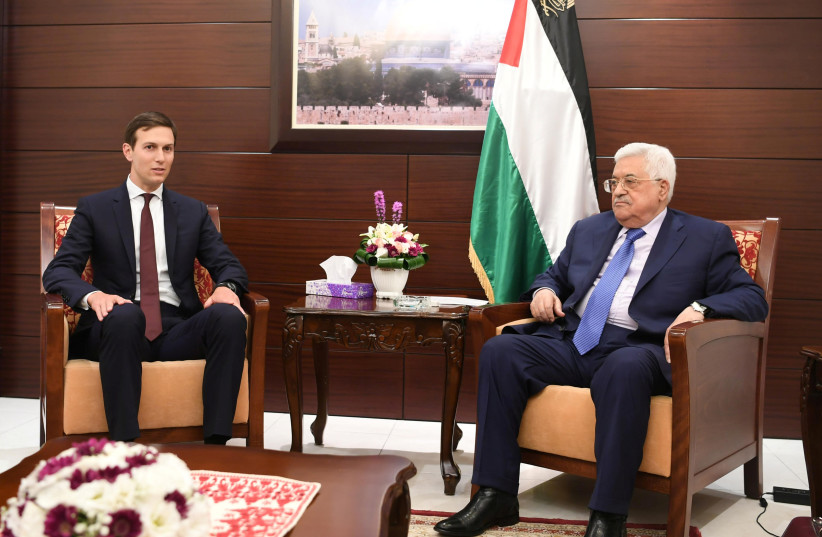 Palestinian President Mahmoud Abbas meets with US presidential adviser Jared Kushner in the West Bank city of Ramallah August 24, 2017 (photo credit: PALESTINIAN PRESIDENT OFFICE (PPO)/HANDOUT VIA REUTERS)