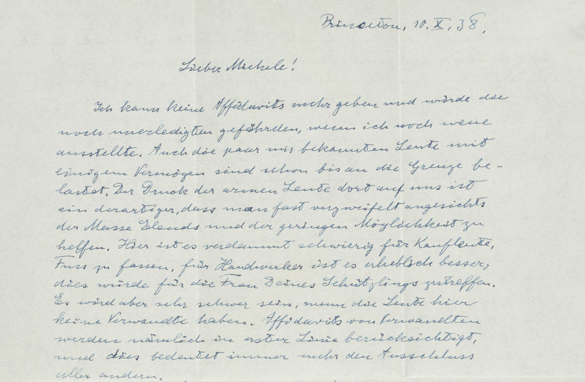 A letter written by Albert Einstein featuring his fears for Europe following the 1938 Munich Agreement (photo credit: NATE D. SANDERS AUCTIONS)