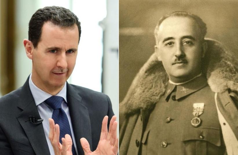 Bashar Assad and General Francisco Franco (photo credit: REUTERS/WIKIMEDIA COMMONS)