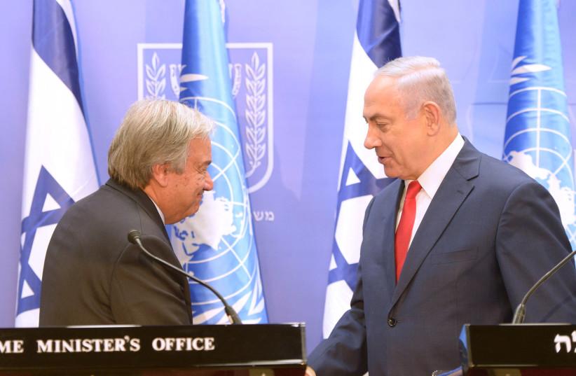 Prime Minister Benjamin Netanyahu meets with United Nations Secretary General Antonio Guterres meet in Jerusalem (photo credit: AMOS BEN-GERSHOM/GPO)