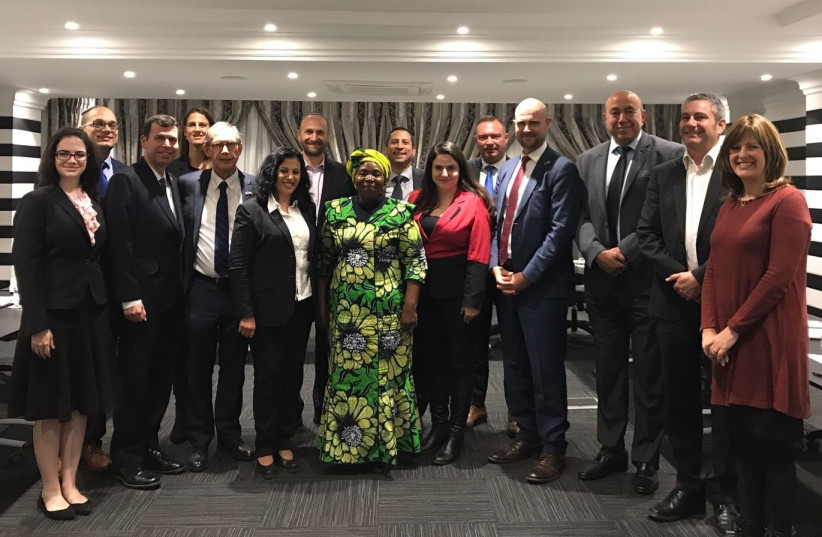 Members of Knesset and South African Jewish communal officials meet with former South African cabinet minister and Chairperson of the African Union Nkosazana Dlamini-Zuma in Johannesburg (photo credit: COURTESY OF THE EMBASSY OF ISRAEL IN PRETORIA)