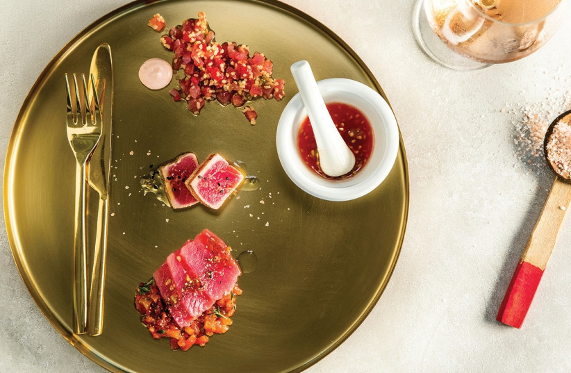 """The Colorfood Festival's """"red"""" dish, which involved tuna served three ways. (photo credit: AFIK GABAI)"""