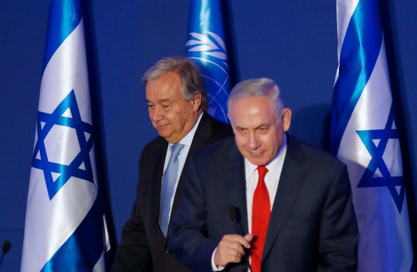 UN Secretary-General Antonio Guterres (L) and Israeli Prime Minister Benjamin Netanyahu in Jerusalem August 28, 2017. (photo credit: REUTERS)