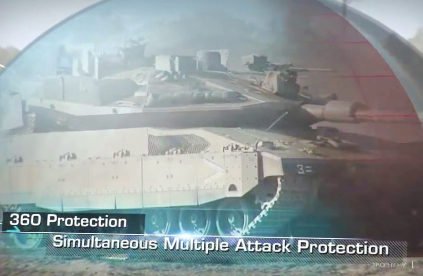 RAFAEL ADVANCED DEFENSE SYSTEMS presents its 360-degree protection of for army vehicles against RPGs. (photo credit: RAFAEL/SCREENSHOT)