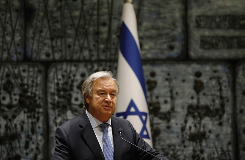 UN SECRETARY General Antonio Guterres delivers a statement during his meeting with Israeli President Reuven Rivlin in Jerusalem in August. (photo credit: REUTERS)