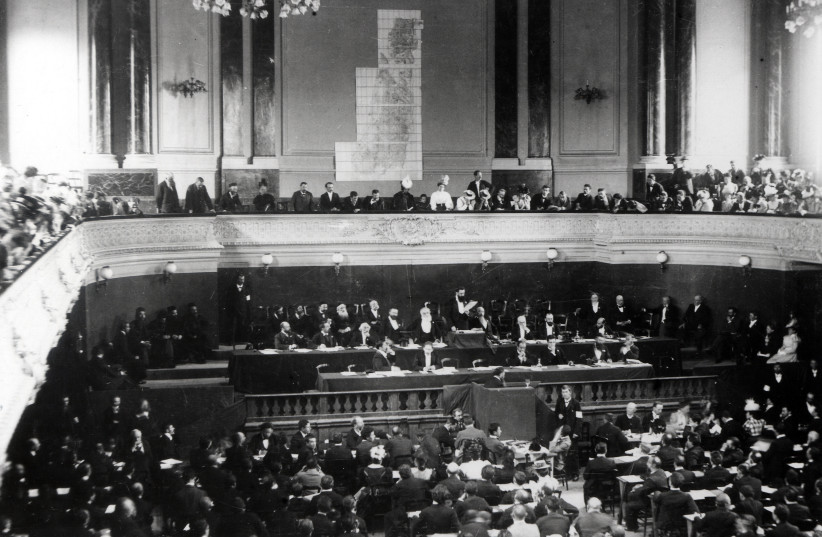 Theodor Herzl addresses the First or Second Zionist Congress in Basel, Switzerland (photo credit: WIKIMEDIA COMMONS/ISRAEL NATIONAL PHOTO COLLECTION)