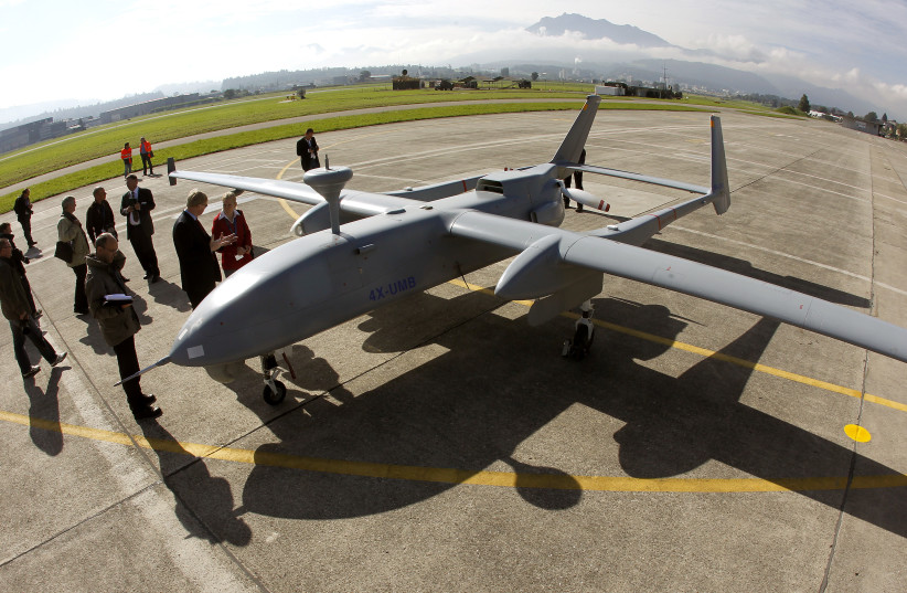 An Israel Aero Space Industries (IAI) Heron 1 unmanned aerial vehicle (UAV) stands on the tarmac during a media presentation at the airbase in the central Swiss town of Emmen September 20, 2012. (photo credit: REUTERS/ARND WIEGMANN)