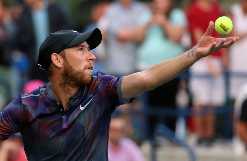 Dudi Sela of Israel serves to Sam Querrey of the United States on day three of the US Open tennis tournament (photo credit: JERRY LAI-USA TODAY SPORTS VIA REUTERS)
