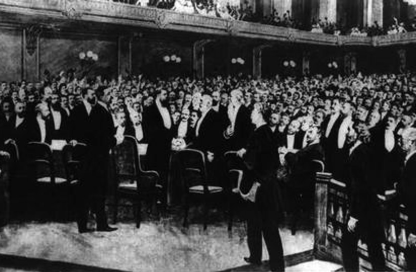 The delegates at the First Zionist Congress, held in Basel, Switzerland, in 1897. (photo credit: Wikimedia Commons)