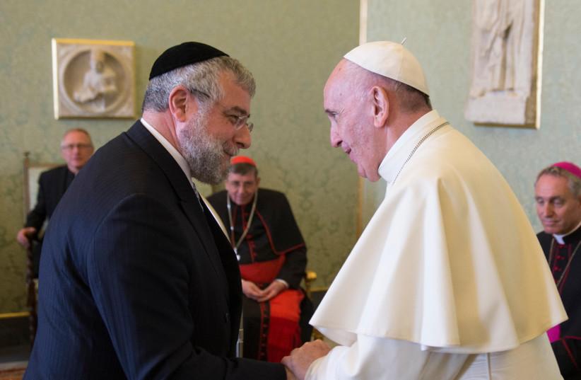 Pope Francis and Rabbi Pinchas Goldschmidt, September 2017 (photo credit: L'OSSERVATORE ROMANO - SVF)