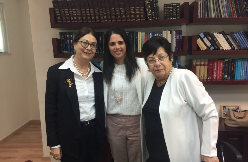 Esther Hayut, newly elected president of the Supreme Court, Justice Minister Ayelet Shaked and current Supreme Court president Miriam Naor, September 5, 2017. (photo credit: YONAH JEREMY BOB)