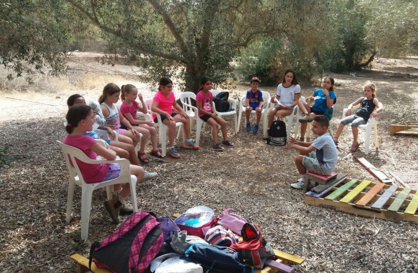The children of Moshav Ge'a striking out of school. (photo credit: Courtesy)