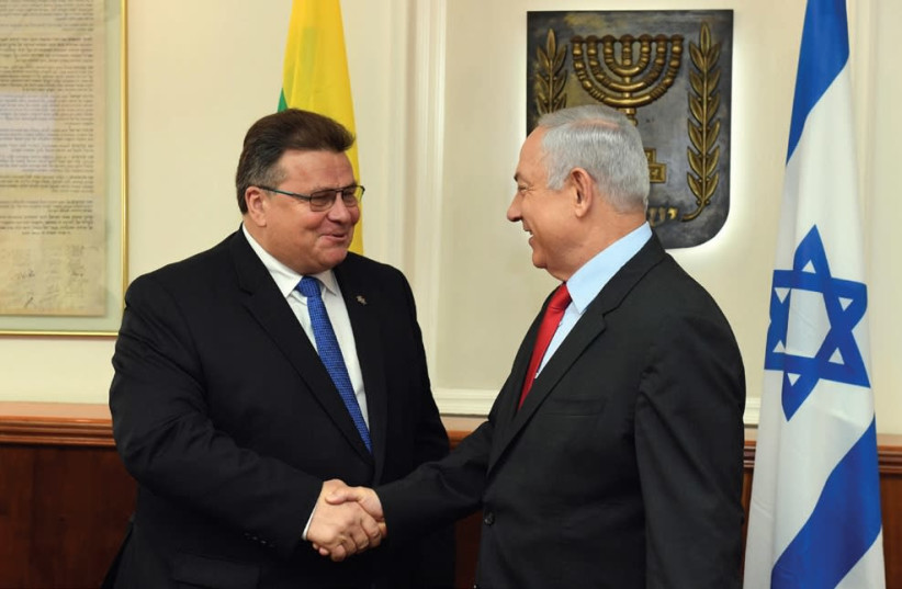 Prime Minister Benjamin Netanyahu meets with Lithuanian Foreign Minister Linus Linkevicius in Jerusalem (photo credit: HAIM ZACH/GPO)