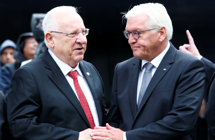 "Germany's President Frank-Walter Steinmeier greets Israel's President Reuven Rivlin as they attend the opening of ""The Munich 1972 Massacre Memorial"" dedicated to the 1972 Olympic attack in Munich, Germany September 6, 2017. (photo credit: REUTERS)"
