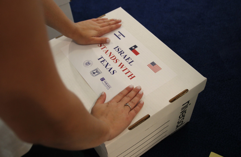 A box packaged by the Embassy of Israel in Washington following Hurricane Harvey (photo credit: EMBASSY OF ISRAEL)