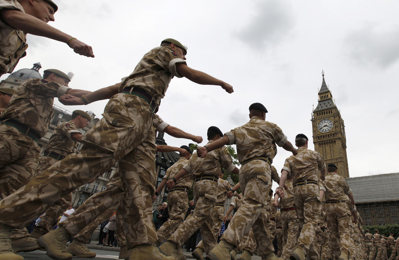 British Army soldiers from 11 Light Brigade march to Parliament in central London June 7, 2010. (photo credit: REUTERS)