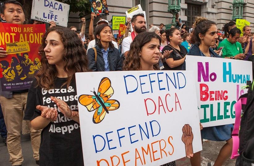 A rally in support of DACA in San Francisco, 2015 (photo credit: PAX AHIMSA GETHEN/ WIKIMEDIA)