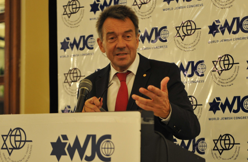 International Committee of the Red Cross (ICRC) President Peter Maurer speaks at a World Jewish Congress meeting, September 2017 (photo credit: Courtesy)