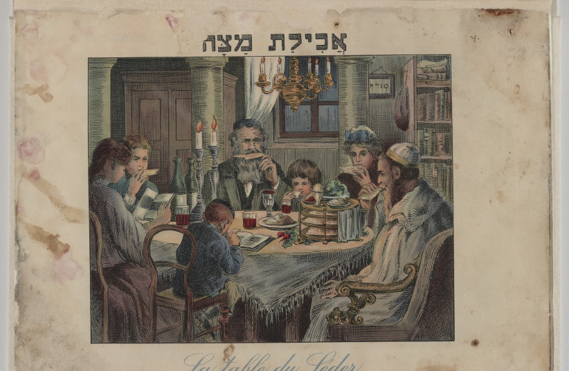 Passover Haggadah from Vienna, 1930. This colorfully illustrated French and Hebrew Haggadah was published in Vienna. Caption on image: Eating Matzah.  (photo credit: US NATIONAL ARCHIVES AND RECORDS ADMINISTRATION)