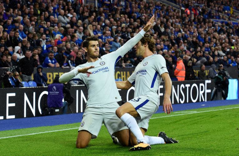 Soccer Football - Premier League - Leicester City vs Chelsea - Leicester, Britain - September 9, 2017 Chelsea's Alvaro Morata celebrates scoring their first goal with Marcos Alonso. (photo credit: REUTERS/REBECCA NADEN)