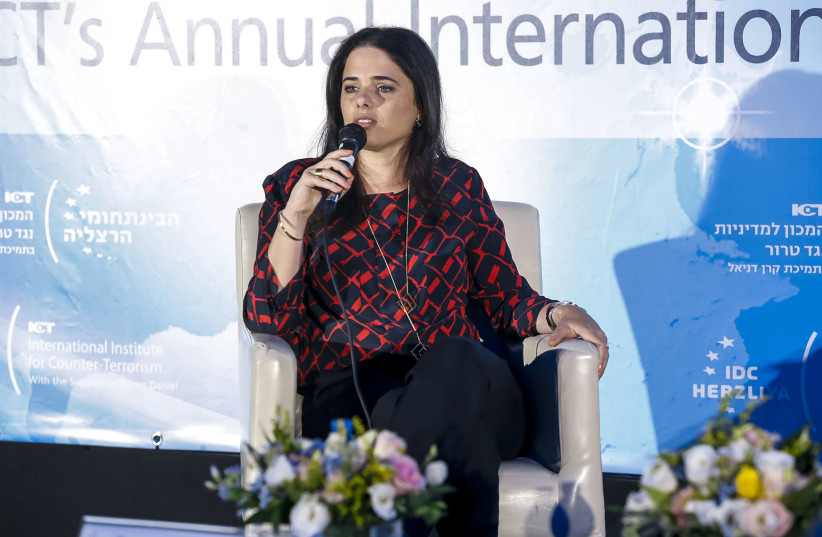 Justice Minister Ayelet Shaked speaks at the ICT Conference n Herzliya (photo credit: KFIR BOLOTIN/ICT)