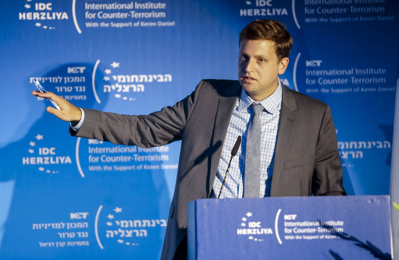 Brian Fishman, Lead Policy Manager--Counterterrorism at Facebook speaks at the ICT Conference n Herzliya (photo credit: KFIR BOLOTIN/ICT)