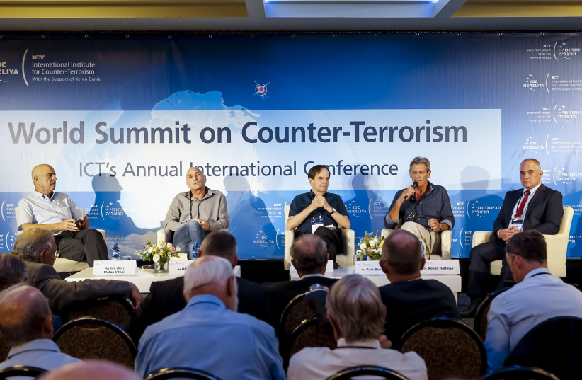 Experts take part in a panel at the IDC Institute of Counterterrorism annual conference (photo credit: KFIR BOLOTIN/ICT)