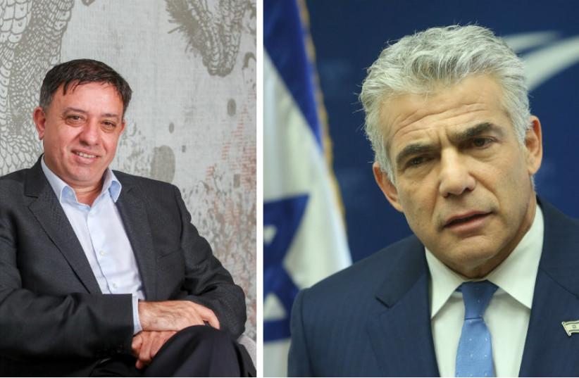 Labor Chairman Avi Gabbay (Left) and Yesh Atid Chairman Yair Lapid (photo credit: MARC ISRAEL SELLEM/THE JERUSALEM POST)