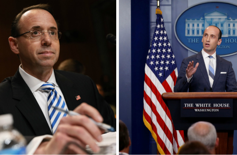 Rod Rosenstein (right) and Stephen Miller   (photo credit: REUTERS FILE PHOTOS)