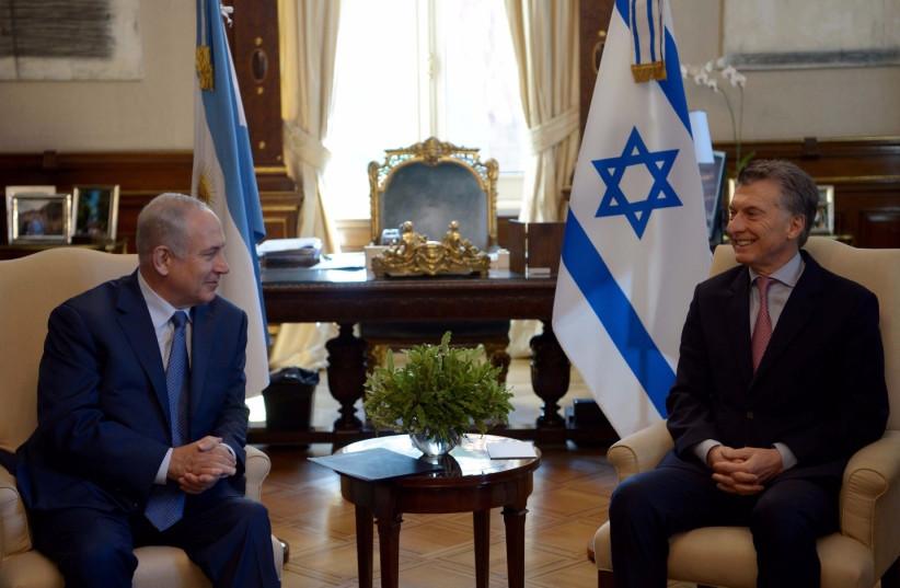 Netanyahu meeting with Argentinian President Mauricio Macri  (photo credit: AVI OHAYON - GPO)
