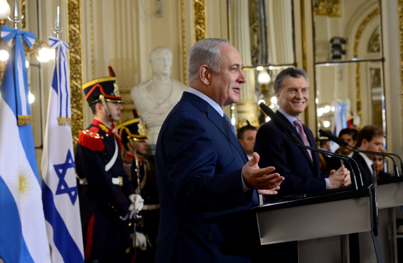 Prime Minister Benjamin Netanyahu speaking at the House of the Argentinian president in Buenos Aires, September 12, 2017. (photo credit: AVI OHAYON - GPO)