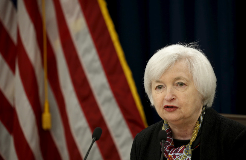 US. Federal Reserve Chair Janet Yellen holds a news conference following the two-day Federal Open Market Committee (FOMC) policy meeting in Washington March 16, 2016. (photo credit: KEVIN LAMARQUE/REUTERS)