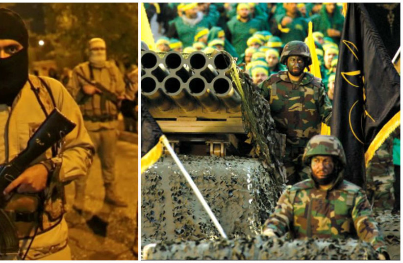 ISIS and Hezbollah militants (photo credit: REUTERS/AFP)