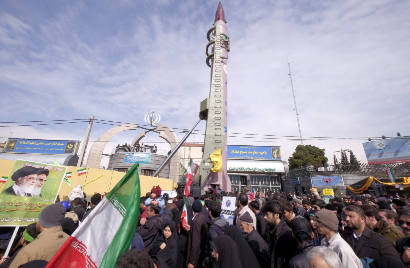 Iranian-made Emad missile is displayed during a ceremony marking the 37th anniversary of the Islamic Revolution, in Tehran February 11, 2016.  (photo credit: REUTERS)