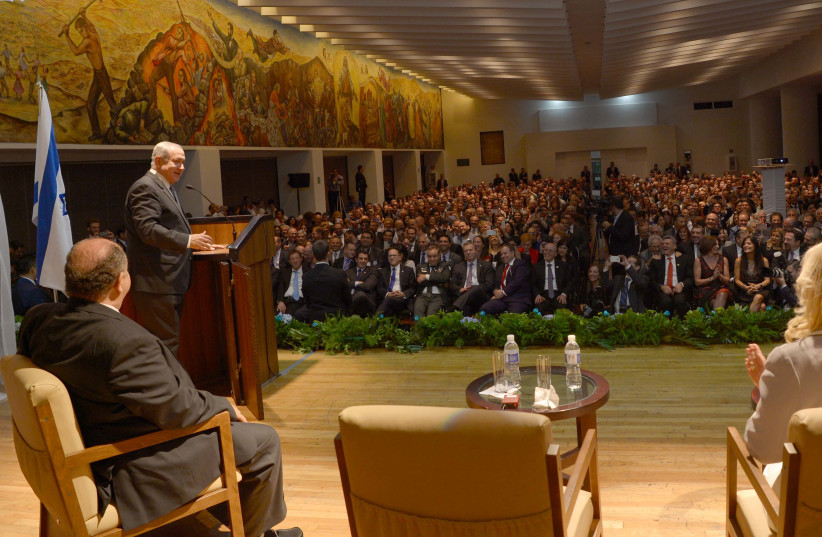 Prime Minister Benjamin Netanyahu speaking at an event for the Jewish community in Mexico City, September 14, 2017. (photo credit: AVI OHAYON - GPO)