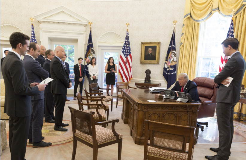 President Donald Trump speaks with Jewish leaders via phone  (photo credit: COURTESY WHITE HOUSE)