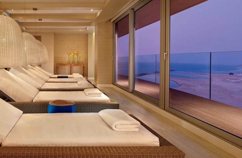 The relaxation room at the spa at the Ritz-Carlton in Herzliya looks out over the sea. (photo credit: MATHEW SHAW)