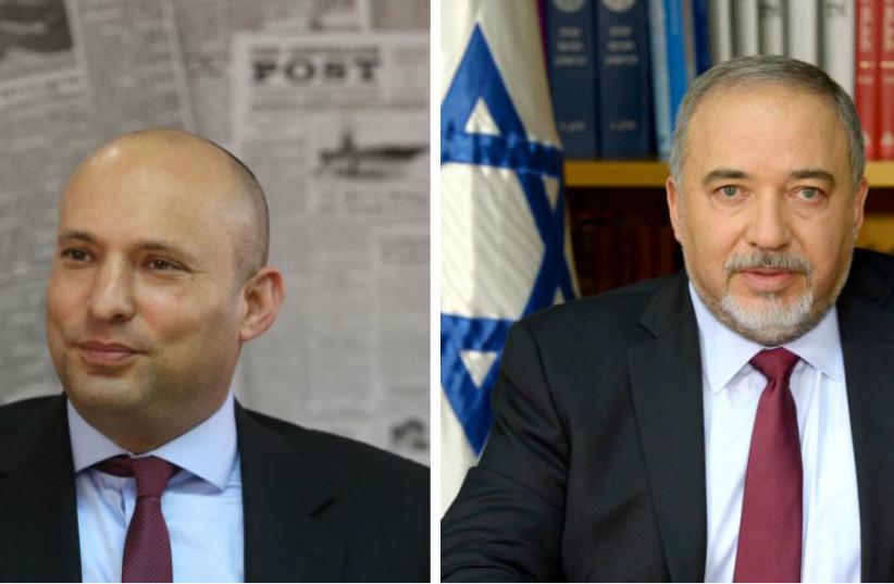 Naftali Bennett (left) and Avigdor Liberman (photo credit: MARC ISRAEL SELLEM & GPO)