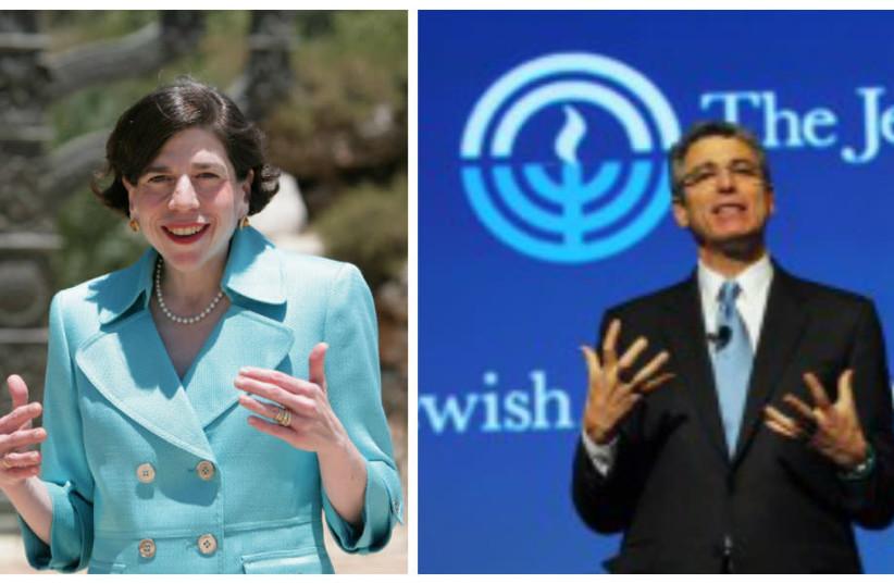 Rabbis Julie Schonfeld (left) and Rick Jacobs (photo credit: FACEBOOK/JFNA)