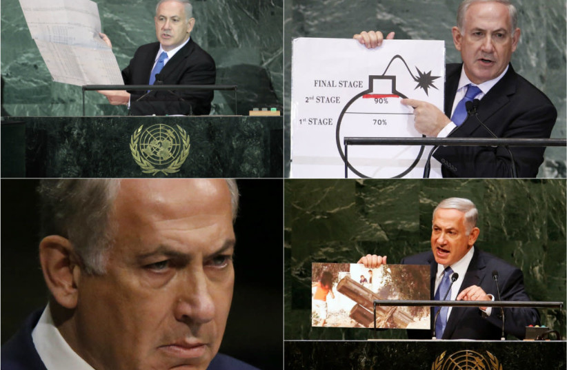 Prime Minister Benjamin Netanyahu during various speeches at the United Nations. (photo credit: REUTERS)