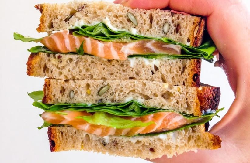 Gravlax sandwich. (photo credit: RACHEL GEMARA)