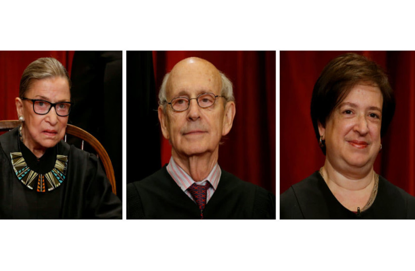 Supreme Court Justices Ruth Bader Ginsburg (Left) Stephen Bryer and Elana Kagan (photo credit: REUTERS FILE PHOTOS)