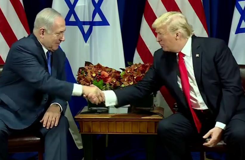 US President Donald Trump and Benjamin Netanyahu meet in New York, September 18, 2017 (photo credit: screenshot)