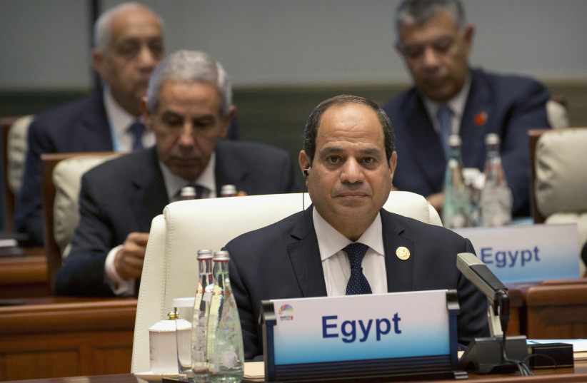 Egypt's President Abdel-Fattah el-Sisi attends the Dialogue of Emerging Market and Developing Countries in Xiamen in southeastern ChinaÕs Fujian Province, Sept. 5, 2017 (photo credit: REUTERS/MARK SCHIEFELBEIN/POOL)