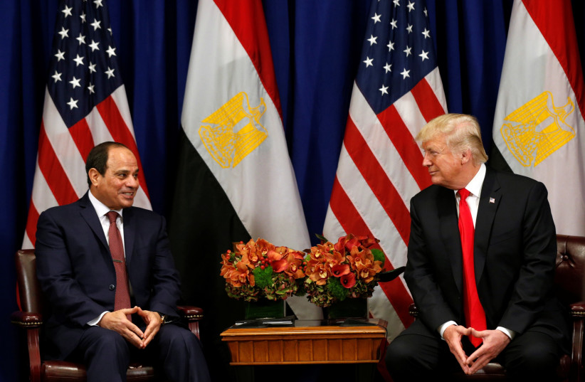 US President Donald Trump meets with Egyptian President al-Sisi at the United Nations General Assembly on September 20, 2017.  (photo credit: REUTERS)