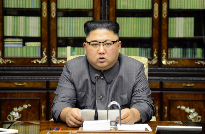 North Korea's leader Kim Jong Un makes a statement regarding US President Donald Trump's speech at the UN general assembly, in this undated photo released by North Korea's Korean Central News Agency (KCNA) in Pyongyang September 22, 2017. (photo credit: KCNA/ REUTERS)